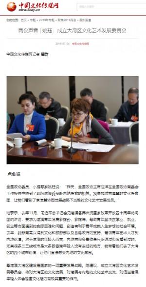 (中國文化傳媒網) 兩會聲音 | 姚珏:成立大灣區文化藝術發展委員會